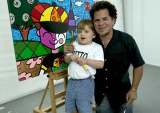 Romero Britto and St. Jude patient Lucas
